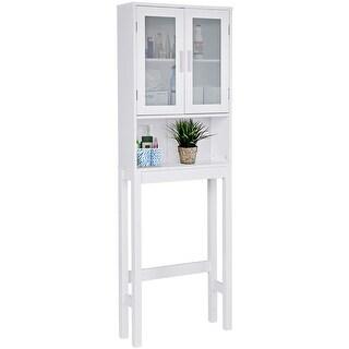 Costway Wooden Over The Toilet Storage Cabinet Spacesaver Organizer Bathroom Tower Rack - White