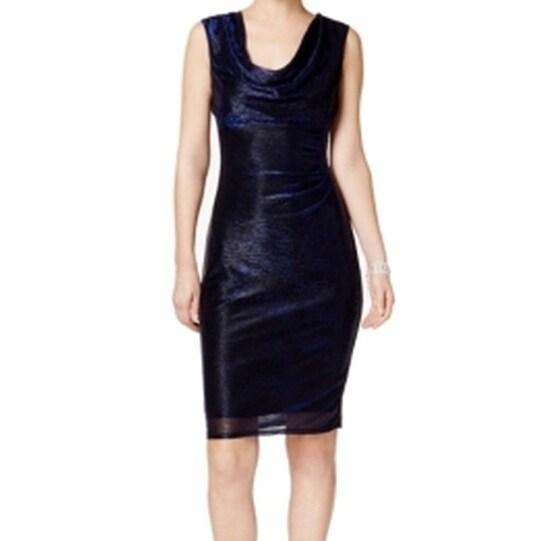 Cowl Neck Sheath Dresses: Shop Connected Apparel NEW Navy Blue Women's Size 8 Cowl