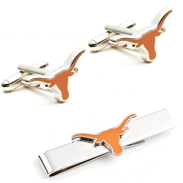 Texas Longhorns Cufflinks and Tie Bar Gift Set