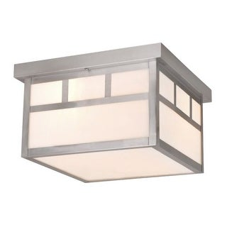 Vaxcel Lighting OF14611 Mission 2 Light Flush Mount Outdoor Ceiling Fixture with White Frosted Glass Shade - 11.5 Inches Wide