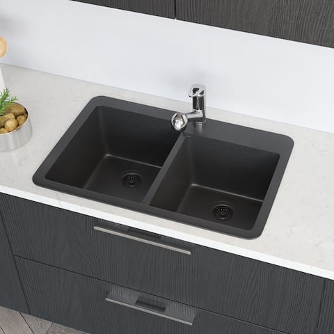 R3-2001 Topmount Offset Granite Quartz Kitchen Sink with Two Grids and Two Matching Colored Strainers