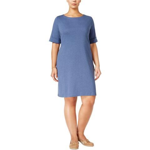 Karen Scott Womens Knit Shirt Dress, Blue, X-Large