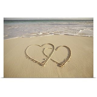 Poster Print entitled Two overlying hearts drawn on the beach with incoming surf.