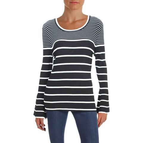 Aqua Womens Pullover Sweater Ribbed Striped - L