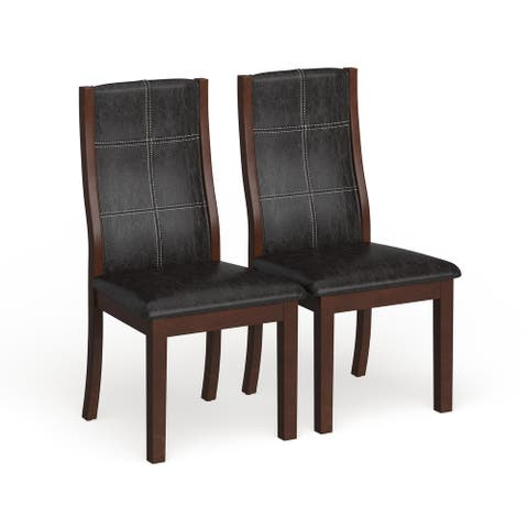 Furniture of America Tornillo Faux Leather Brown Cherry Dining Chairs (Set of 2)