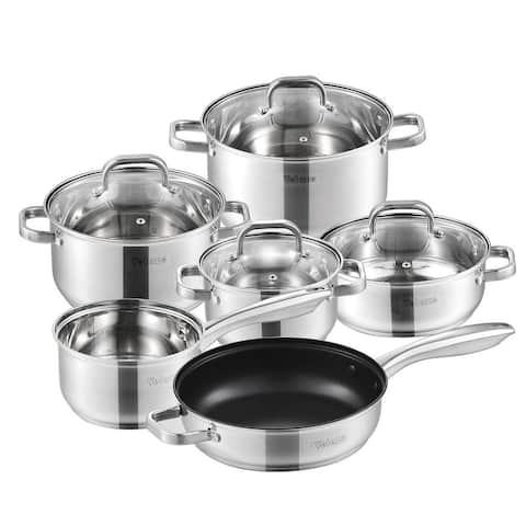 Velaze Eloria All-In-One Stainless Steel Cookware Set with Glass Lid