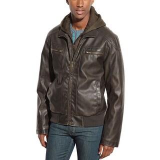 Sean John Hoodie Bib Faux Leather Jacket Dark Brown X-Large