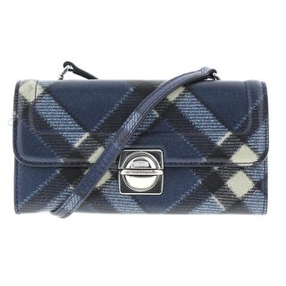 Marc by Marc Jacobs Womens Top Schooly Grace Leather Plaid Crossbody Handbag - skipper blue multi - SMALL