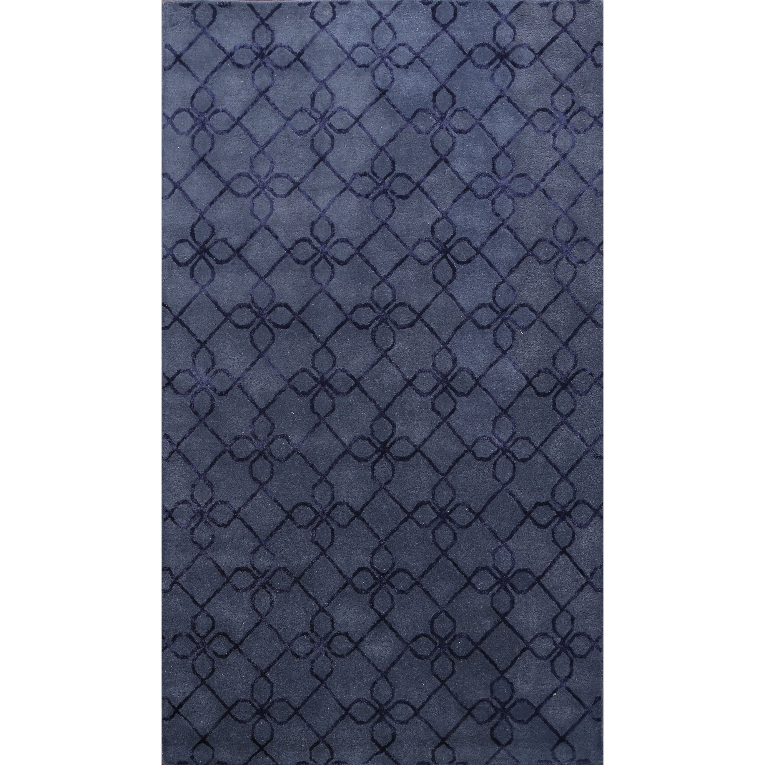 Navy Blue Wool Silk Modern Trellis Area Rug Oriental Hand Tufted 5 0 X 8 0 On Sale Overstock 31705035