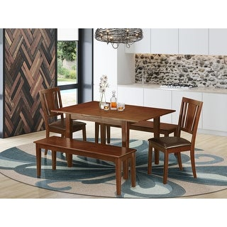 Link to Milan Wood 5-piece Dining Set with Kitchen Table and Wooden Chairs - Mahogany Finish (Chairs OPtion) Similar Items in Dining Room & Bar Furniture