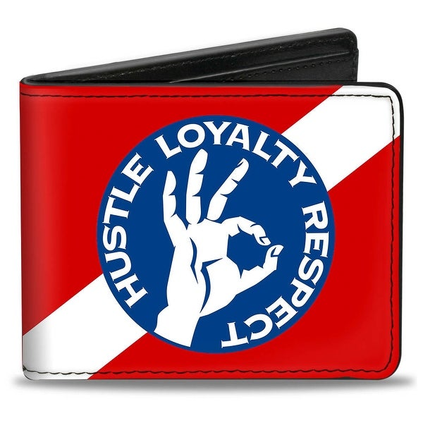 John Cena Hustle Loyalty Respect Hand Icon Stripe Red Blue White Bi Fold Bi-Fold Wallet - One Size Fits most