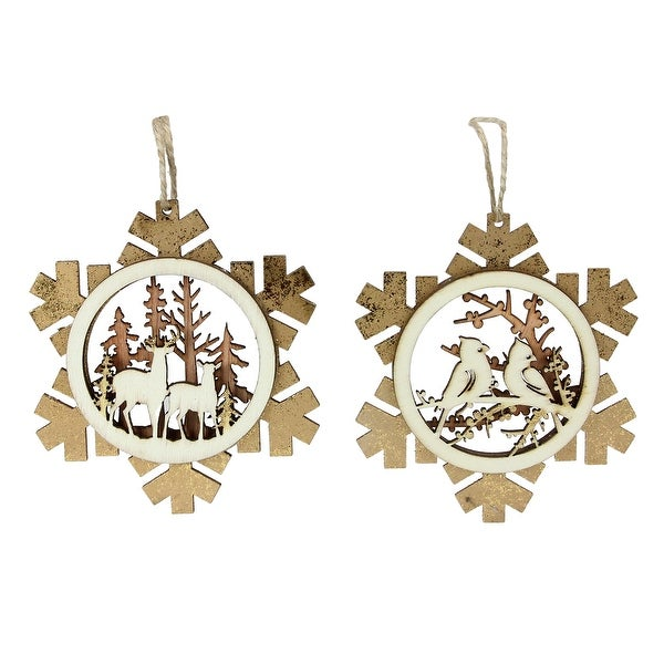 set of 2 brown laser cut rustic woodland animal snowflake christmas ornaments 4 - Animal Christmas Decorations