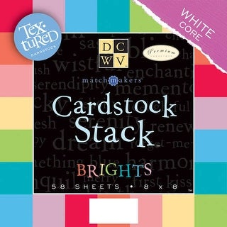 "DCWV Cardstock Stack 8""X8"" 58/Pkg-Brights, White Core, 29 Colors/2 Each - Red"