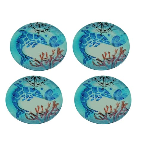 Set of 4 Coastal Blue Dolphin Round Art Glass Salad Plates - 0.68 X 8 X 8 inches