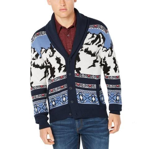 American Rag Mens Sweater Blue Size 2XL Mountain Knit Button Cardigan