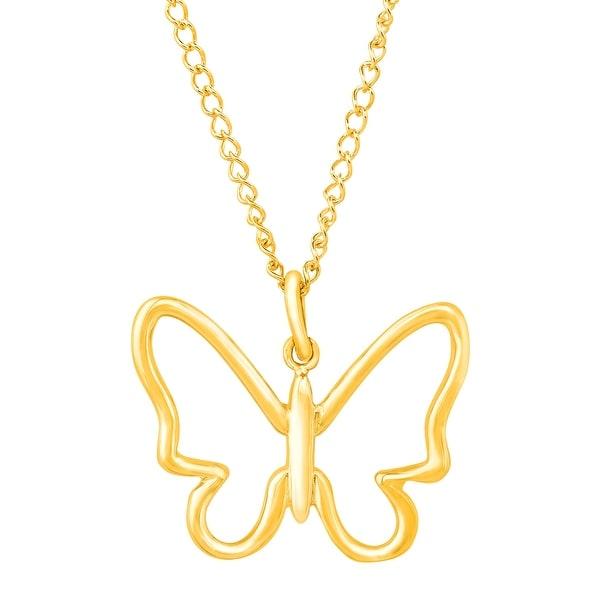 Eternity Gold Silhouette Butterfly Pendant in 10K Gold