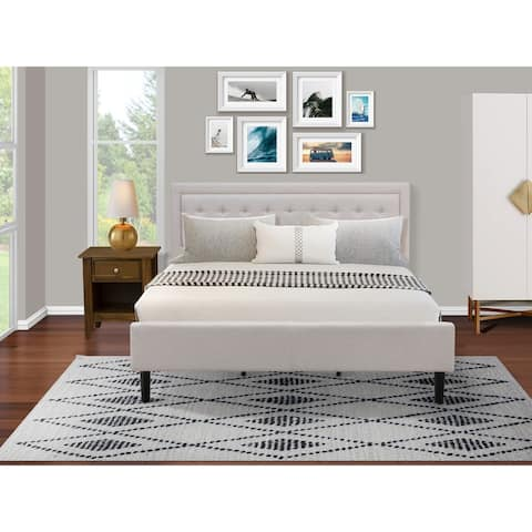Fannin King Size Bed Set with Modern Bed and Wood Nightstand - Mist Beige Linen Fabric - ( End Table Piece Option )