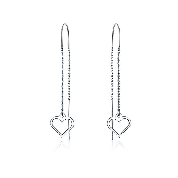 f06e0d545 Shop Minimalist Open Heart Thin Beaded Chain Threader Earring For Women For  Teen 925 Sterling Silver - On Sale - Free Shipping On Orders Over $45 ...