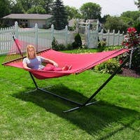 Sunnydaze Soft-Spun 2-Person Caribbean Spreader Bar Hammock with Stand - Red