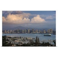 Poster Print entitled Harbor and city viewed from Point Loma, San Diego, California