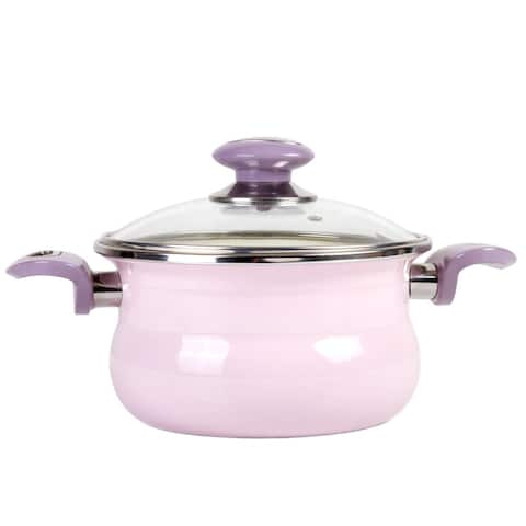 STP Goods 1.6-qt Purple Rose Enamel on Steel Pot w/ Glass Lid