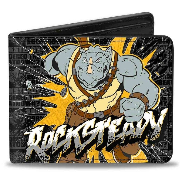 Rocksteady Break Through Pose Who Ordered The Beatdown Blocks Black Grays Bi-Fold Wallet - One Size Fits most