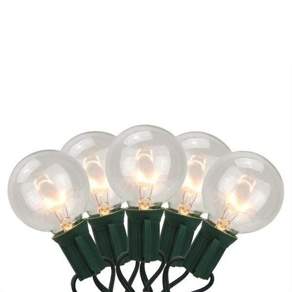 Set of 20 Clear Transparent G50 Globe Patio Wedding Christmas Lights - Green Wire