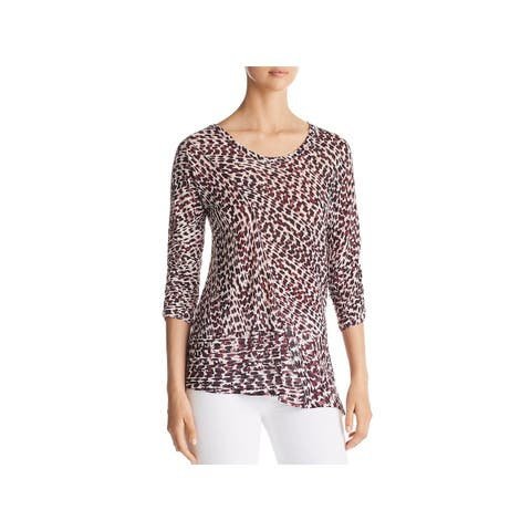 Nic + Zoe Womens Ophelia Knit Top Linen Blend Printed