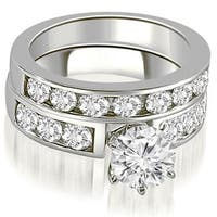 2.75 cttw. 14K White Gold Classic Channel Set Round Cut Diamond Bridal Set