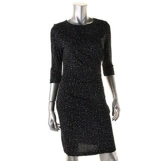 BOSS Hugo Boss Womens Epulina Printed 3/4 Sleeves Wear to Work Dress