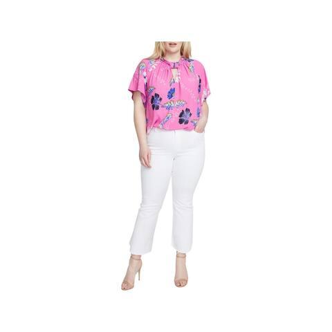 Rachel Rachel Roy Womens Plus Blouse Floral Kimono Sleeves