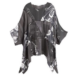 Women's Tunic Top - Black and White Background Music Sheer Blouse (5 options available)
