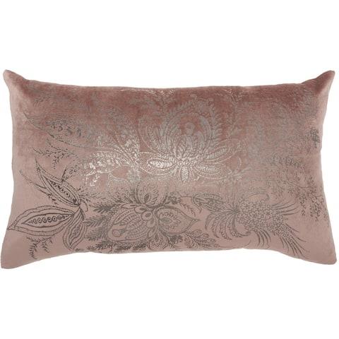 """Kathy Ireland Modern Metallic Floral Throw Pillow , ( 14""""X20"""" )"""