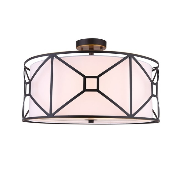 "Woodbridge Lighting 17135-S120A1 Regan 3 Light 20"" Wide Drum Style Semi-Flush Ceiling Fixture with Fabric Shade and Metal Cage"