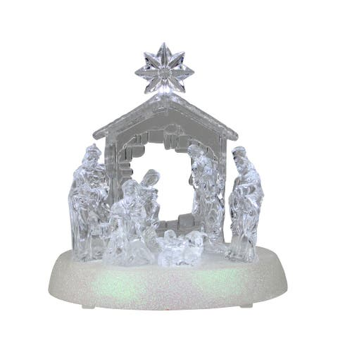 LED Holy Family in Stable Christmas Nativity Scene 7.5 Inch