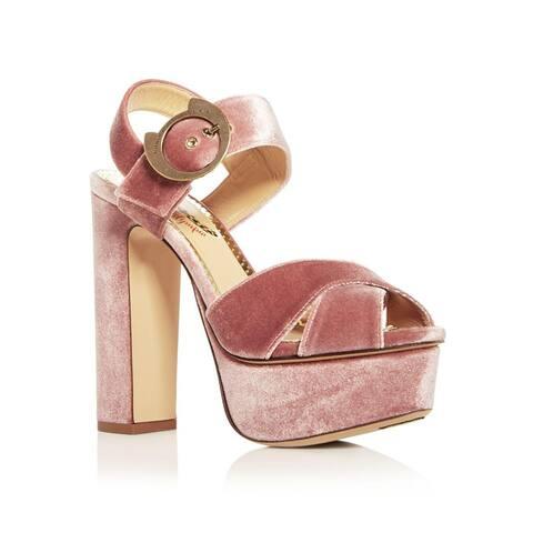 Charlotte Olympia Women's Catbuck Velvet High - Heel Platform Sandals Pink