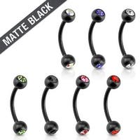 Matte Black IP with CZ 316L Surgical Steel Eyebrow Curve Barbell (Sold Ind.)