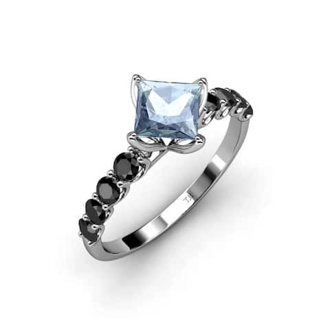 TriJewels Aquamarine Black Diamond Womens Engagement Ring 14K Gold