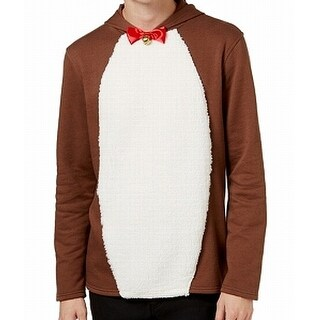 American Rag Brown Mens Size Small S Hooded Reindeer Sweater