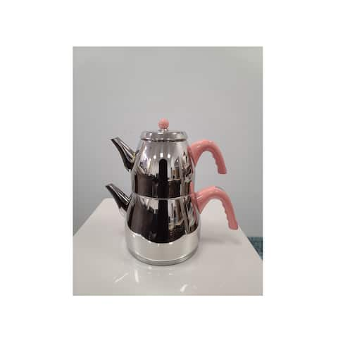 SavaHome Ece Stainless Steel Pink, Turkish Teapot for 6 people, 4.75 qt