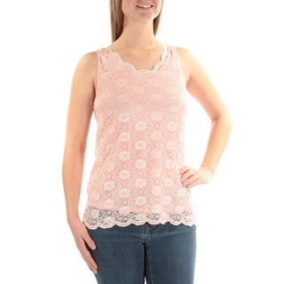 TAHARI $59 Womens New 1337 Pink Floral Lace Sleeveless Jewel Neck Top S B+B