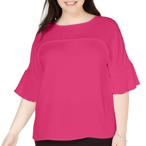 Bar III Womens Blouse Pink Size 1X Plus Ruffle Sleeve Scoop Neck Keyhole