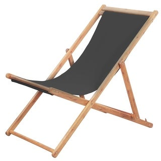 vidaXL Folding Beach Chair Fabric and Wooden Frame Gray