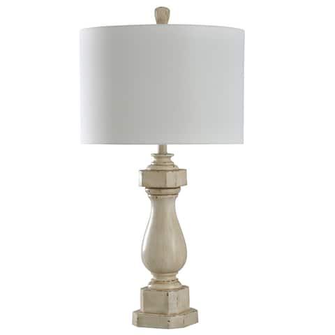 StyleCraft Old Cream Distress Table Lamp - White Shade