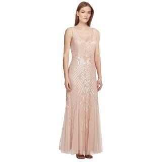 Aidan Mattox Sequined Godet Bridesmaid Evening Gown Dress