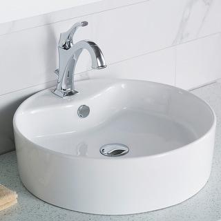 Kraus Elavo 18 1/4 inch Round Porcelain Ceramic Vessel Bathroom Sink