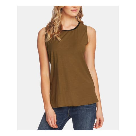 TWO BY VINCE CAMUTO Womens Green Sleeveless Jewel Neck Top Size XL