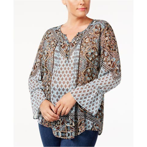 Style&Co. Womens Printed Knit Blouse
