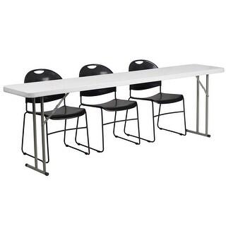 Rivera 4pcs 18''W x 96''L Plastic Folding Table Set w/3 Black Stack Chairs
