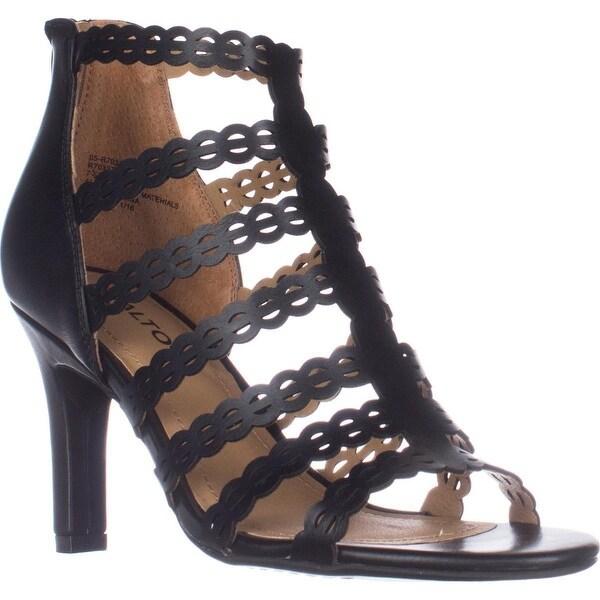 Rialto Roma Strappy Zip Heel Sandals, Black